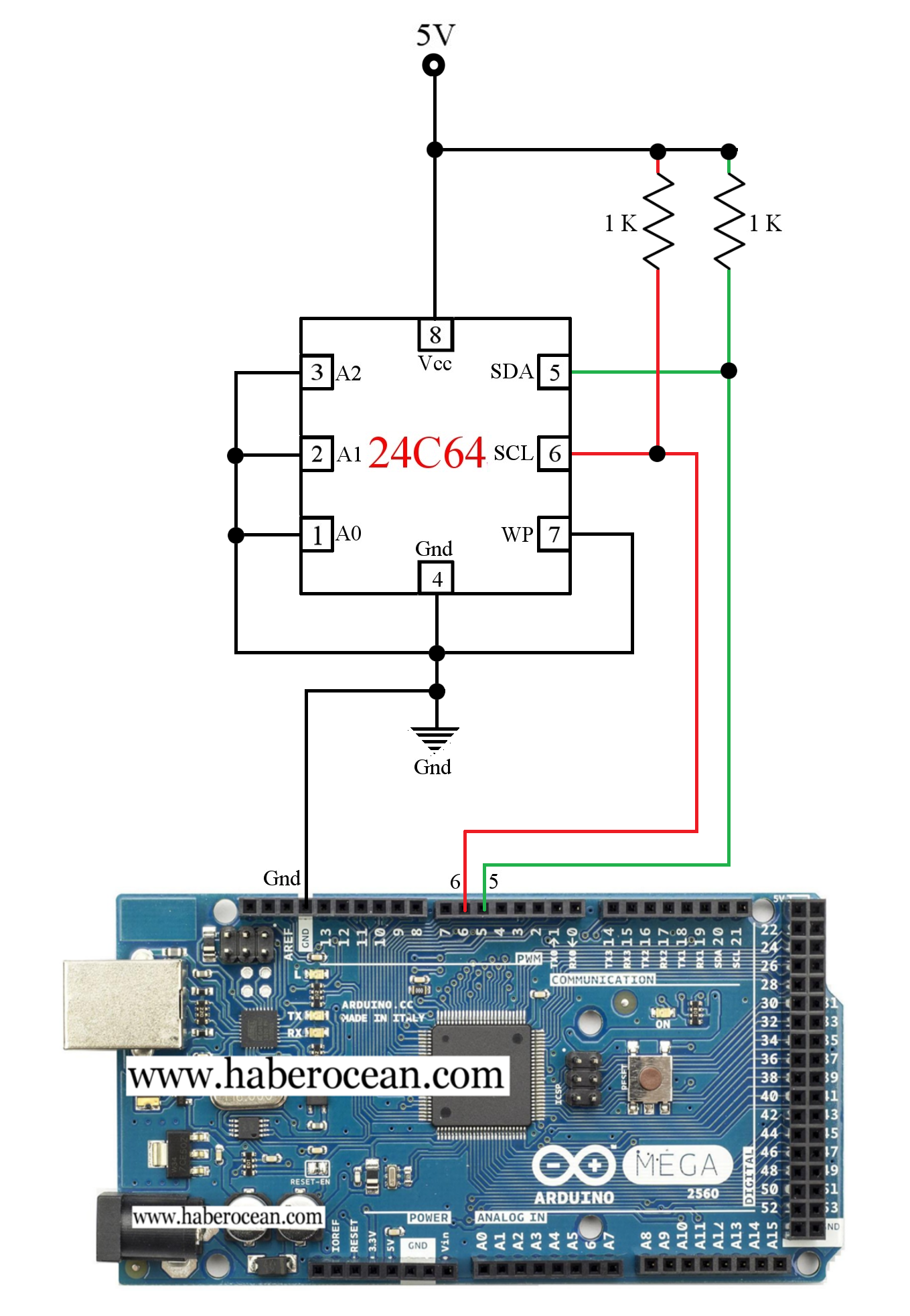 circuit to read and write data to 24c64 eeprom using arduino rh pinterest com Car Audio Amplifier Circuit Diagram Hall Effect Sensor Circuit Diagram
