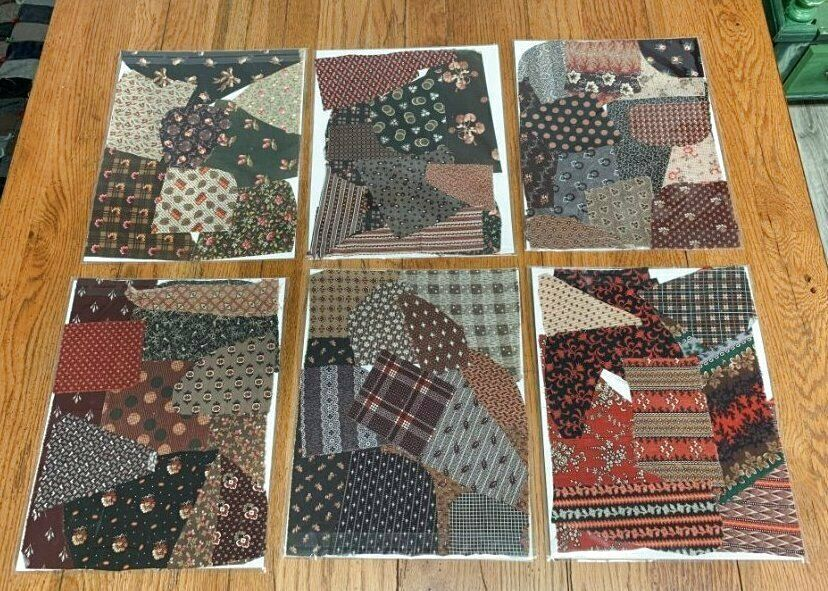 6 antique fabric sample book pages c 1860s browns