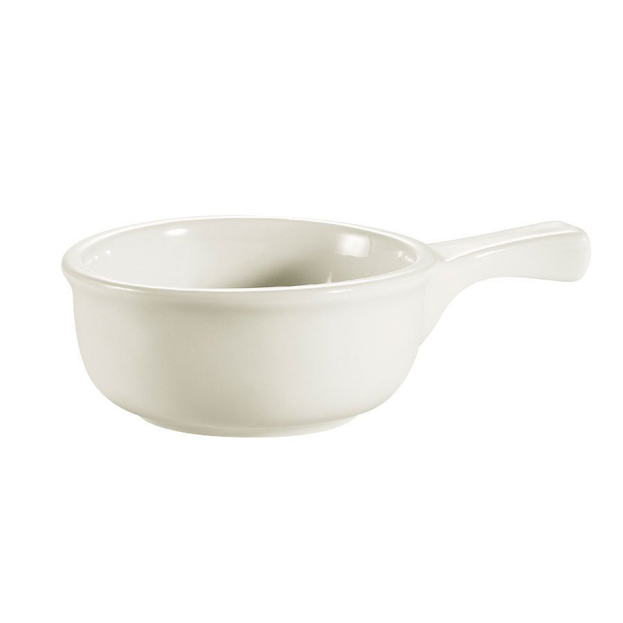 CAC OC-15-W American White 15 oz. Onion Soup Crock / Bowl with Handle - 24 / Case