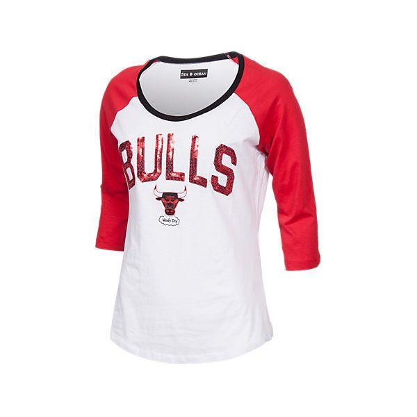 new style 43b07 986d4 New Era Women's Chicago Bulls NBA 3/4 Raglan Sleeve Sequin T ...
