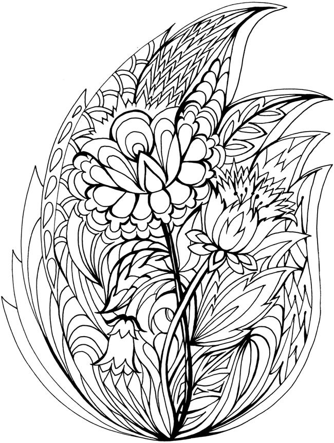 Creative Haven Floral Frenzy Colouring Book Dover Publications