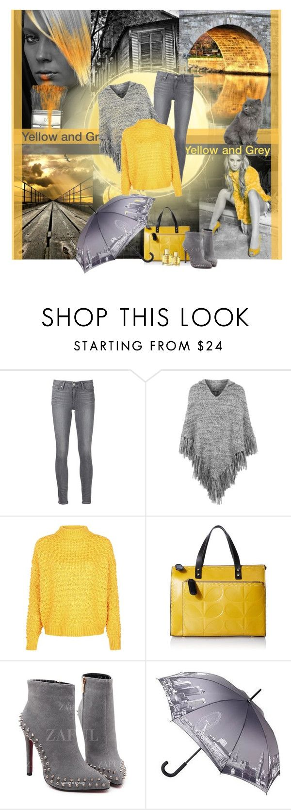 """grey meets yellow"" by dicabria ❤ liked on Polyvore featuring 7 For All Mankind, Paige Denim, Topshop, Orla Kiely and Acqua di Parma"