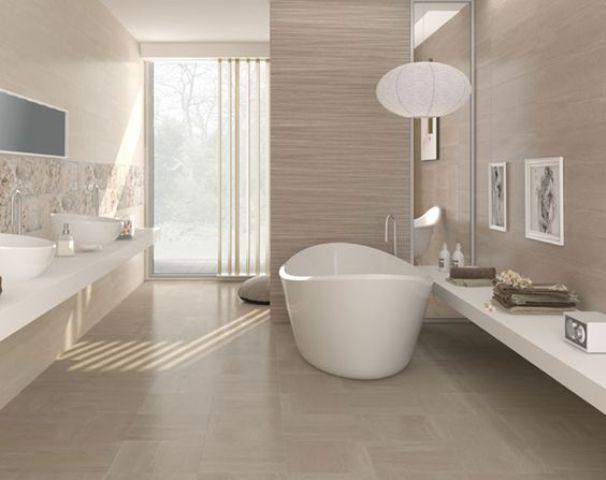 Modern Taupe Bathroom With Walls And Floor In That Color, Filled With Light