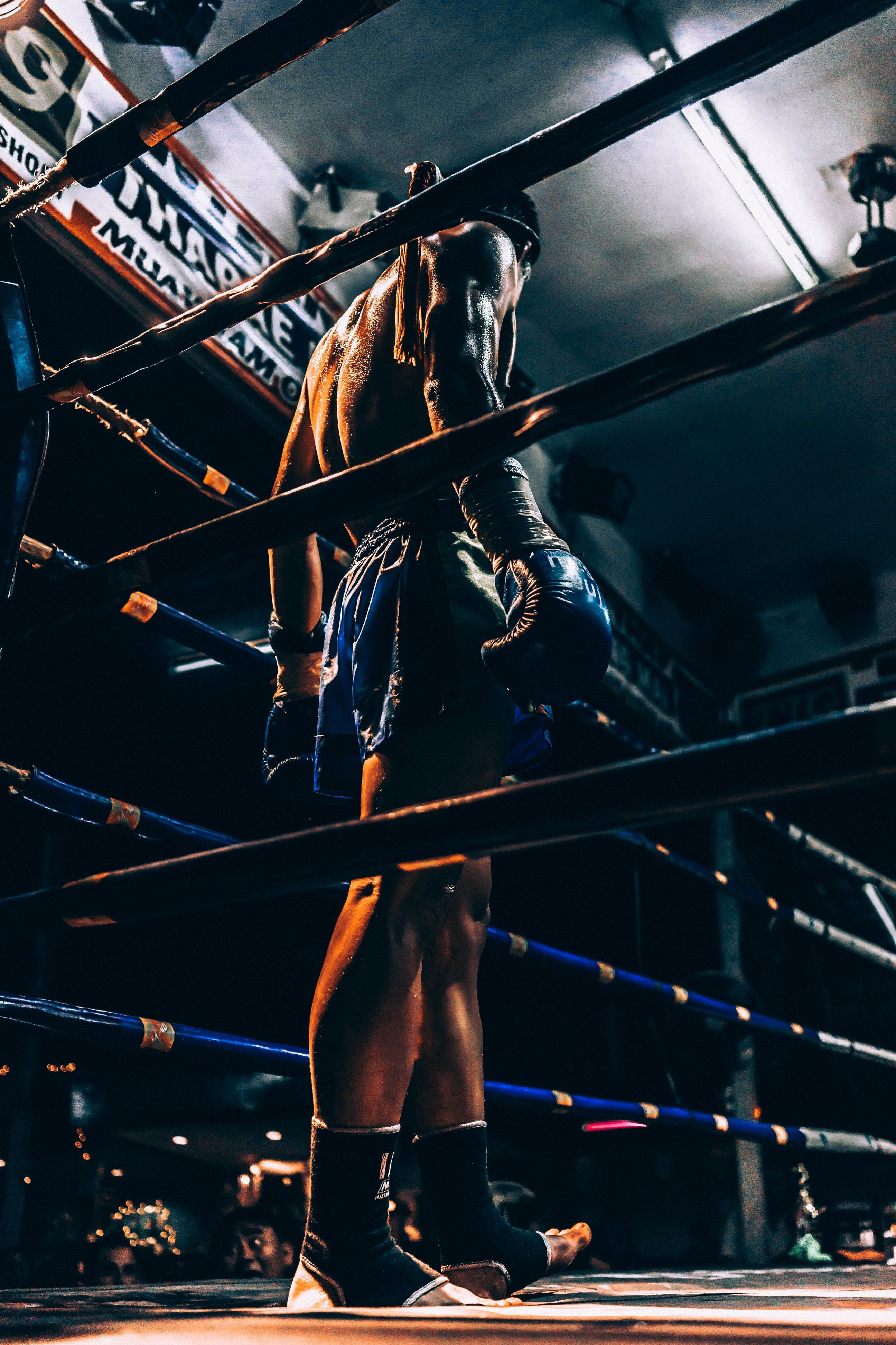 Boxer Wearing Blue Short Standing In Corner Of Ring Muay Thai Mma Fighters Boxing Workout