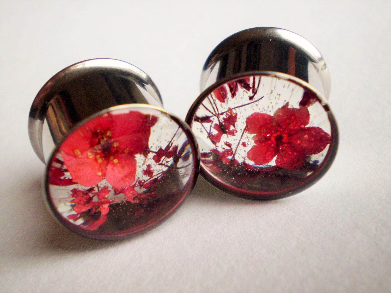 real flower plugs girly gauges ear tunnels natural spring summer wedding feminine red floral. Black Bedroom Furniture Sets. Home Design Ideas