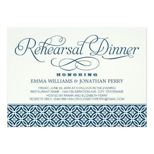 "Wedding Rehearsal Dinner Invitations | Chic Script 5"" X 7"" Invitation Card"