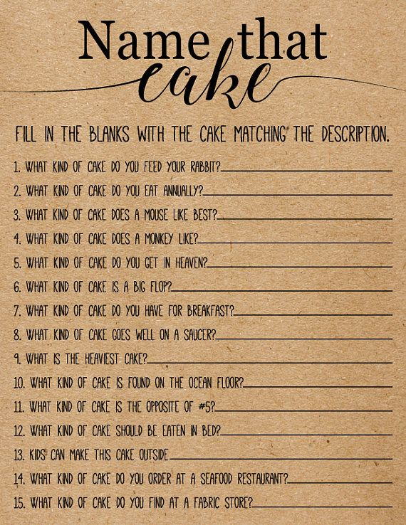 name that cake bridal shower game printable instant download
