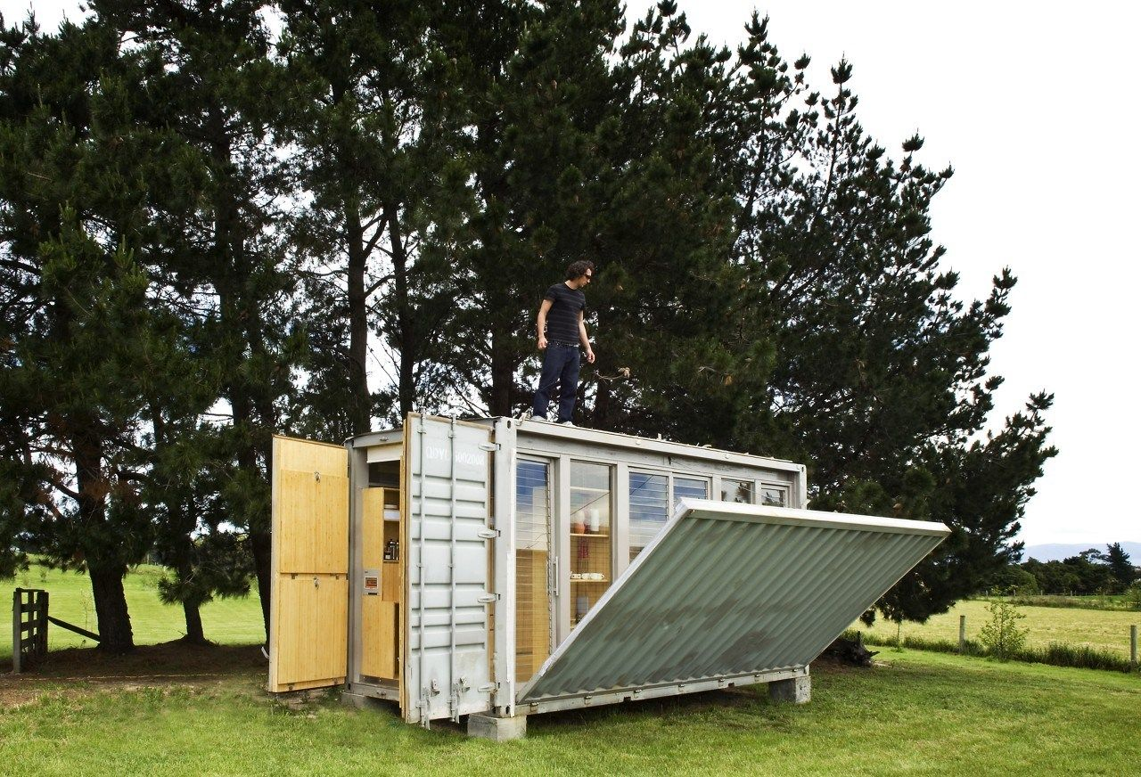 Off The Grid Cabin Made From A Sea Container. Uses A Composting Toilet,  Solar