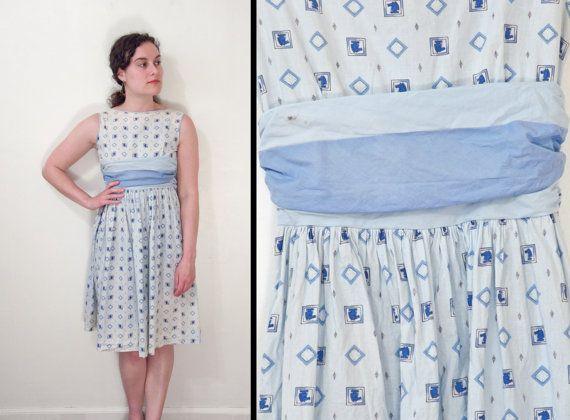 1950s CHESS Dress Knight Pattern Baby Blue  Indigo Novelty