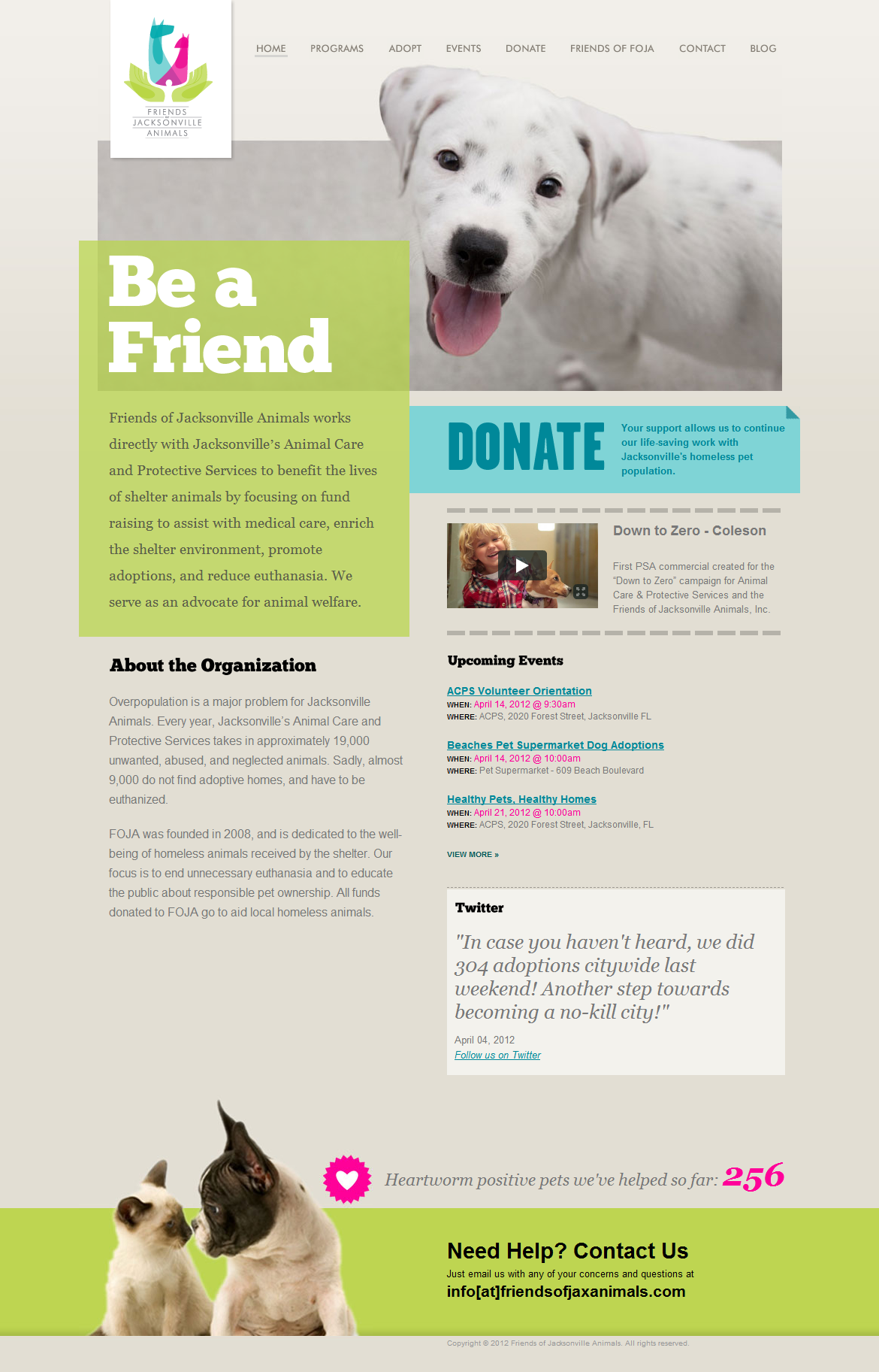 Really Nice Redesign Of The Friends Of Jacksonville Animals Website Animal Shelter Animals Pet Care