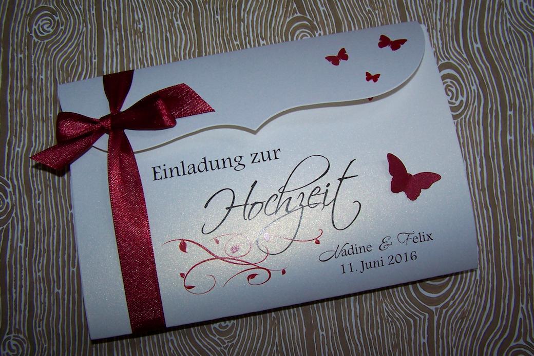 Einladung Hochzeit Dunkelrot