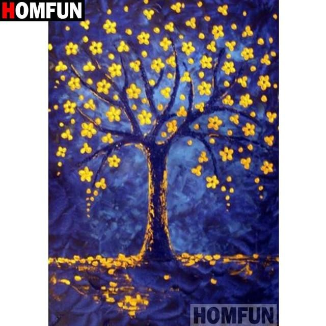 5D Diamond Painting Abstract Tree with Yellow Blossoms Kit