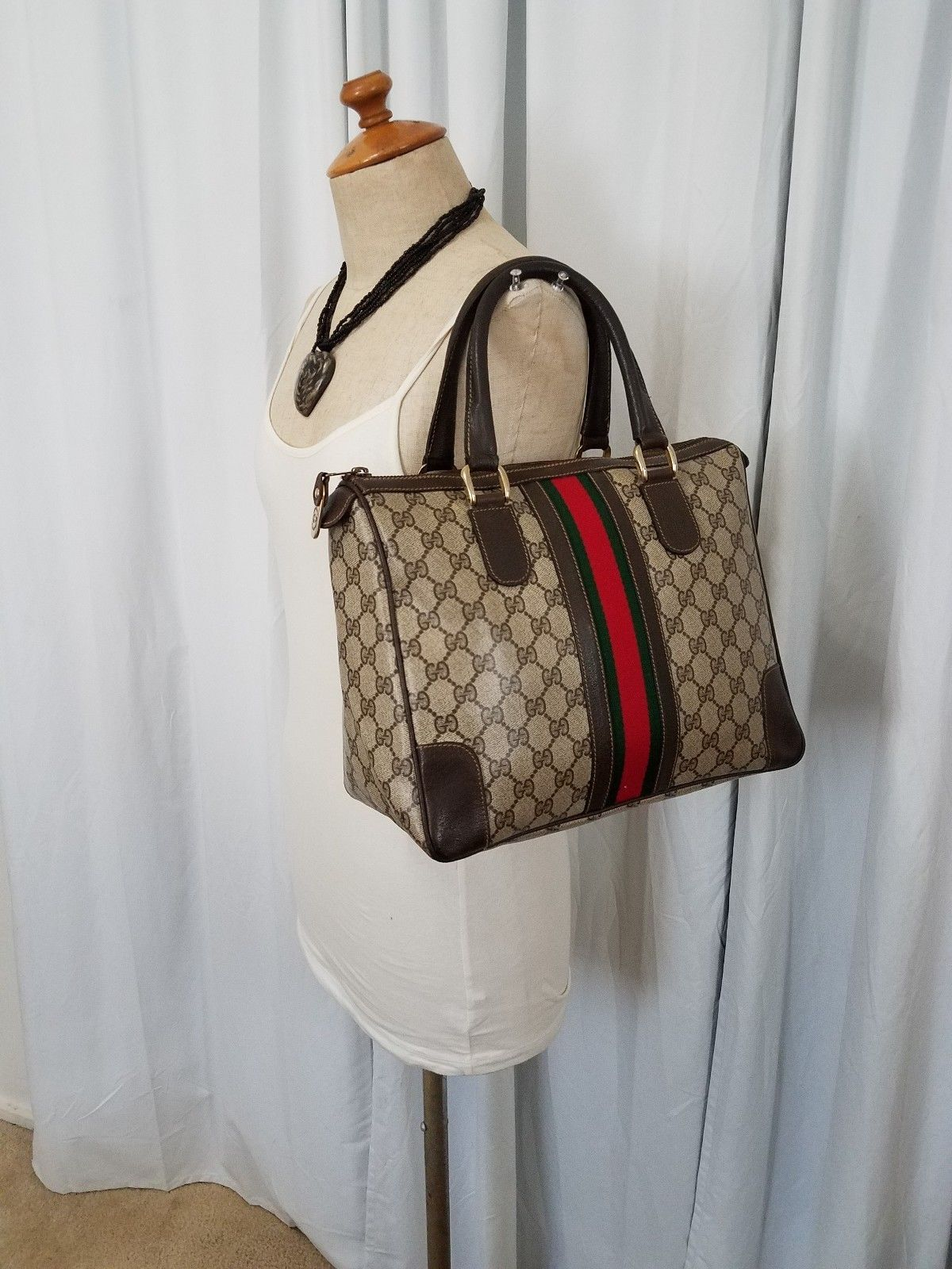 049b89eacce Details about Authentic Vintage GUCCI Web Boston Doctor Bag Satchel ...