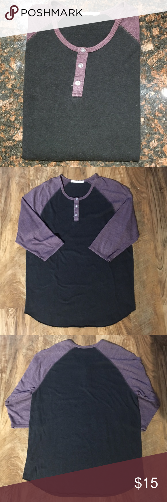 Alternative 3/4 Sleeve Raglan Henley 50% polyester, 38% cotton, 12% rayon. Excellent condition, no flaws. Alternative Shirts Tees - Long Sleeve