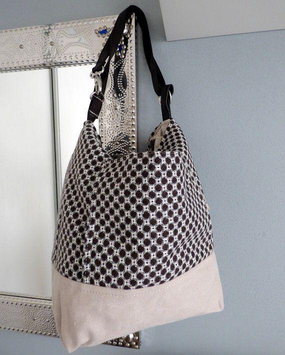 2 tono tappezzeria e tela borsa a tracolla