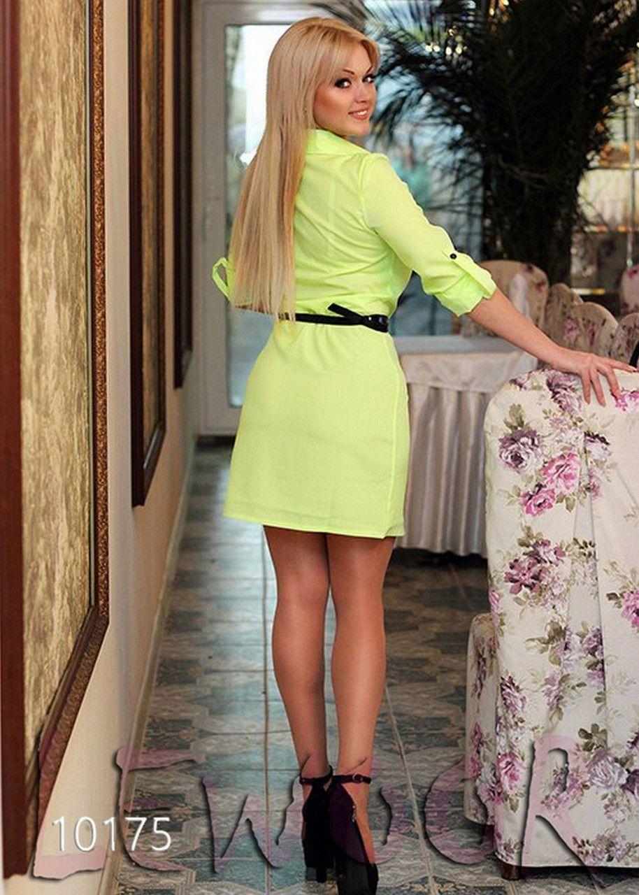 Платье с пуговицами спереди и воротником