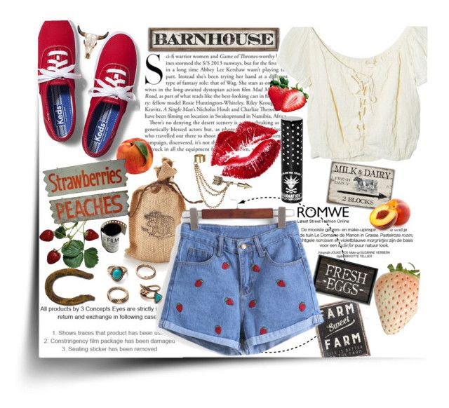 """""""Farm sweet farm."""" by annacc ❤ liked on Polyvore featuring Primitives By Kathy, Keds, Kershaw, Jens Pirate Booty, Manic Panic, Emi Jewellery, romwe, farm and strawberryshorts"""