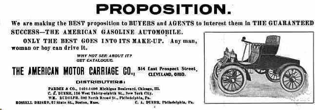 1902 American Gas Automobile Advertisement Automobile
