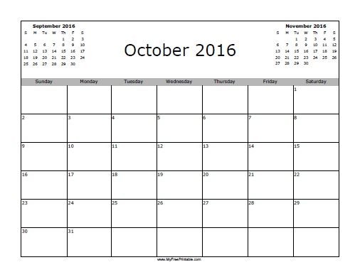 Free Printable October 2016 Calendar Holidays 2016 calendar