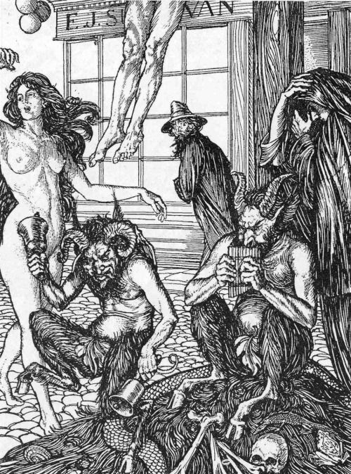 Cartoon drawings of gothic evil orgy