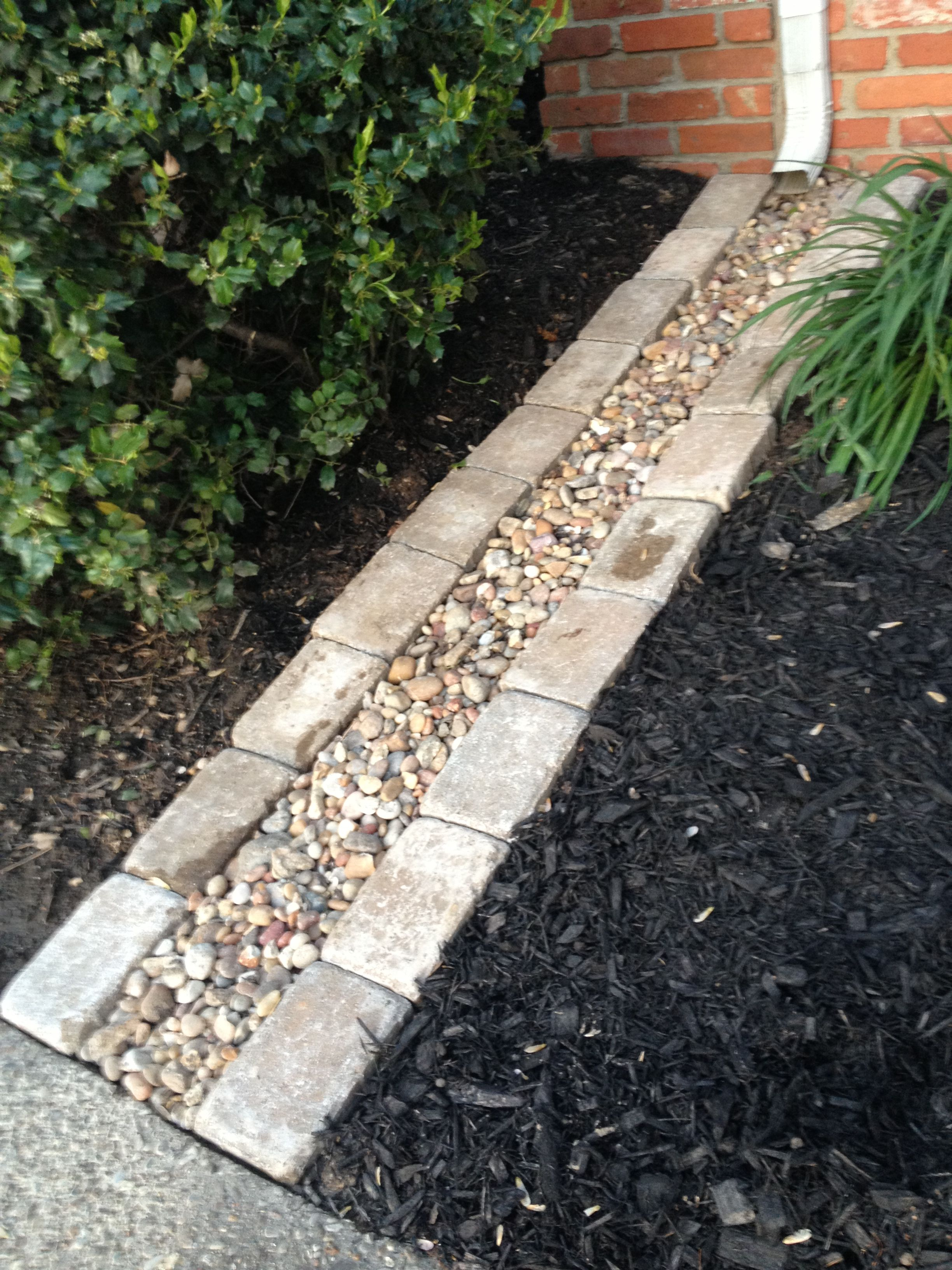 Down Spout Rock Drain Add Plastic Under The Rocks So You Dont Saturate The Ground Near Your Foundation Http Pinterest Com Pin 422001427560438882 Outdoor Landscaping Backyard Landscaping Lawn And Garden