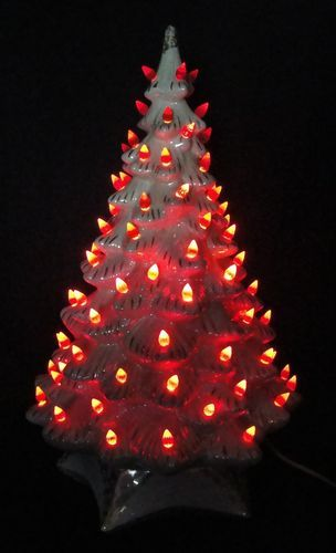 Vintage 19 White Mother Of Pearl Opal Gold Ceramic Christmas Tree Red Lights
