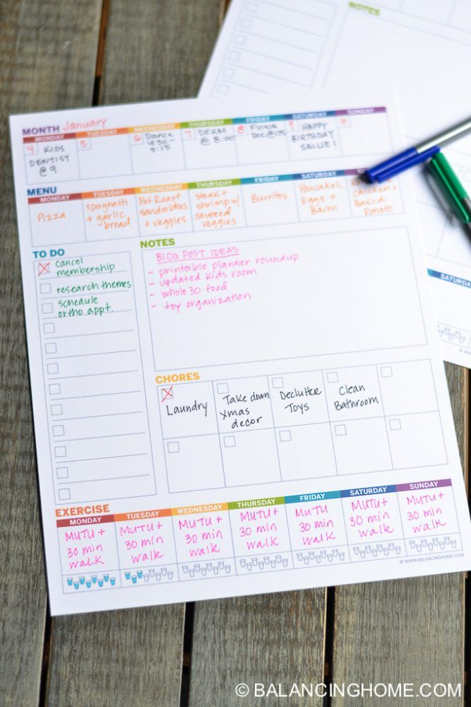 Weekly Planner Template Printable Planner template, Weekly chores