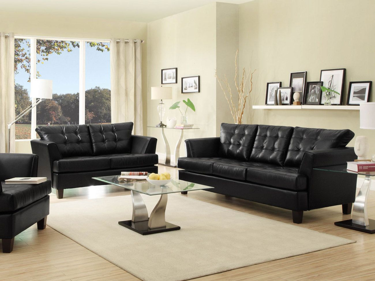 Iris Modern Black Faux Leather Sofa Couch Loveseat Set Living
