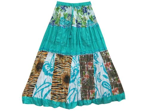 Trendy Boho Gypsy Long Skirt Cotton Floral Panel Patchwork Tiered Skirts 37"