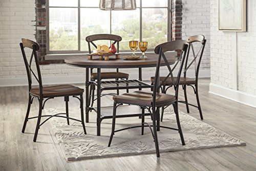 Rolena Brown Color Round Dining Room Table W 4 Side Chairs -- You