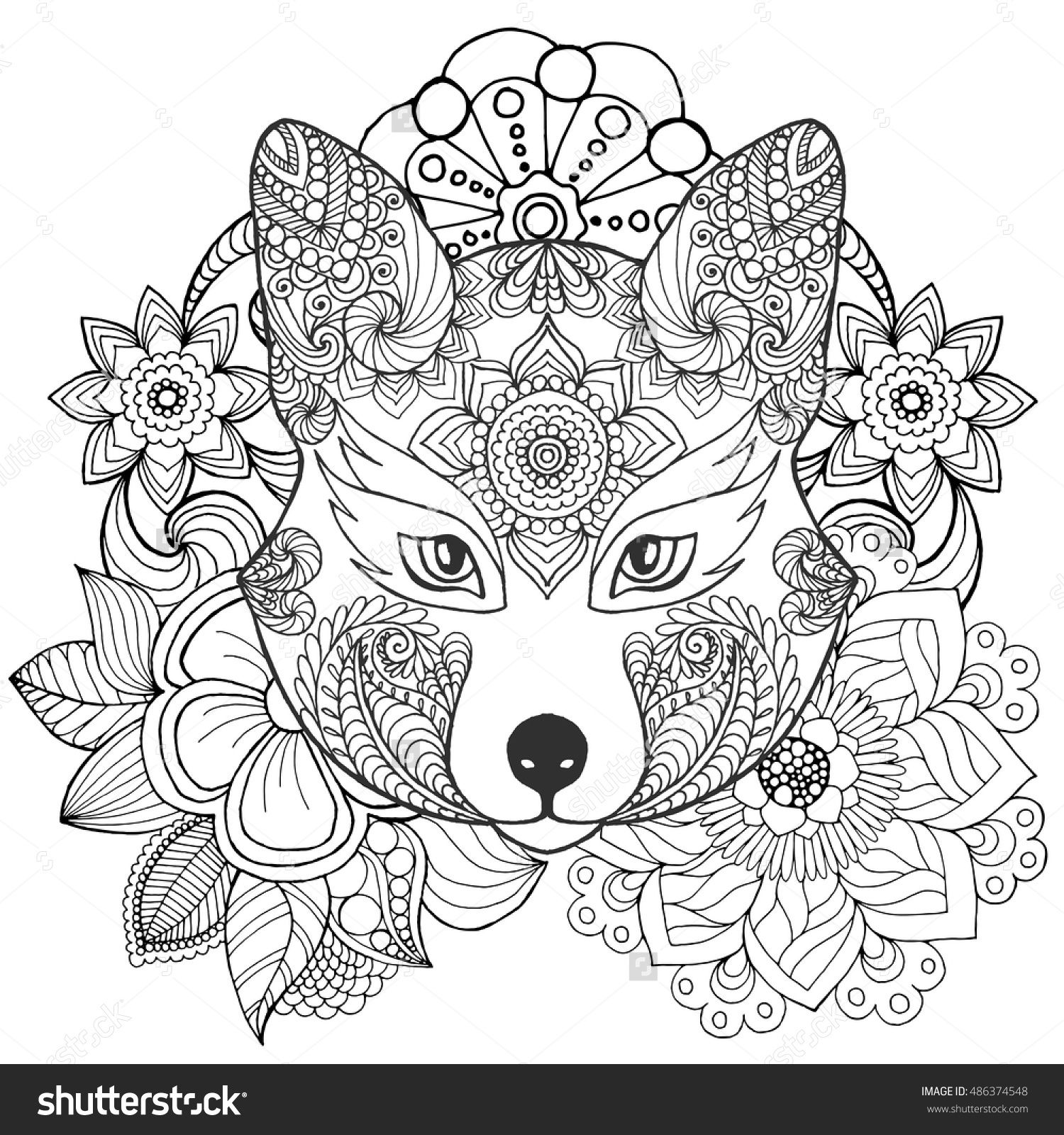 fox in flowers coloring page doodle floral