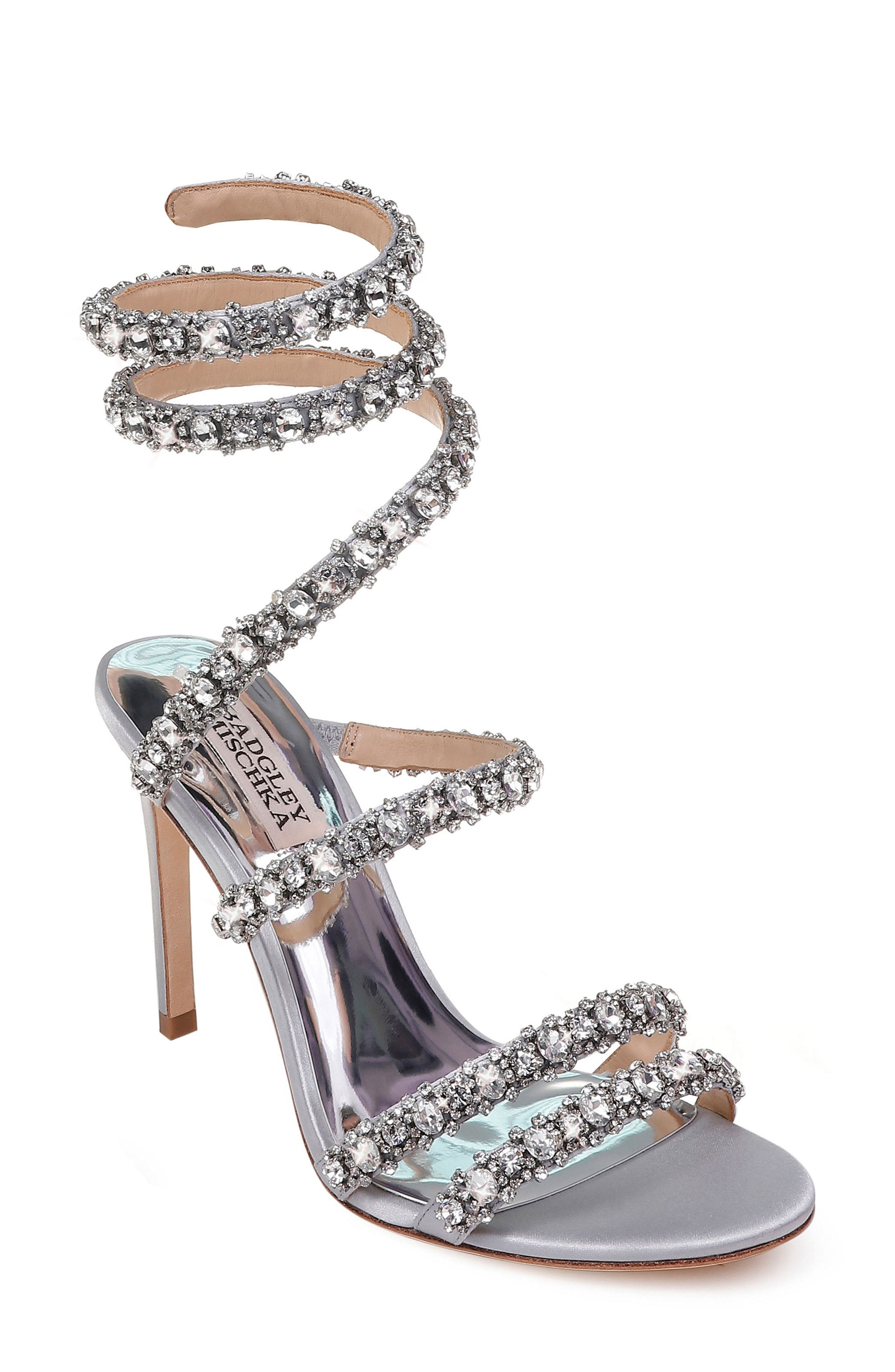 35d4f7cfb0271 Badgley Mischka Peace Crystal Ankle Wrap Sandal available at ...