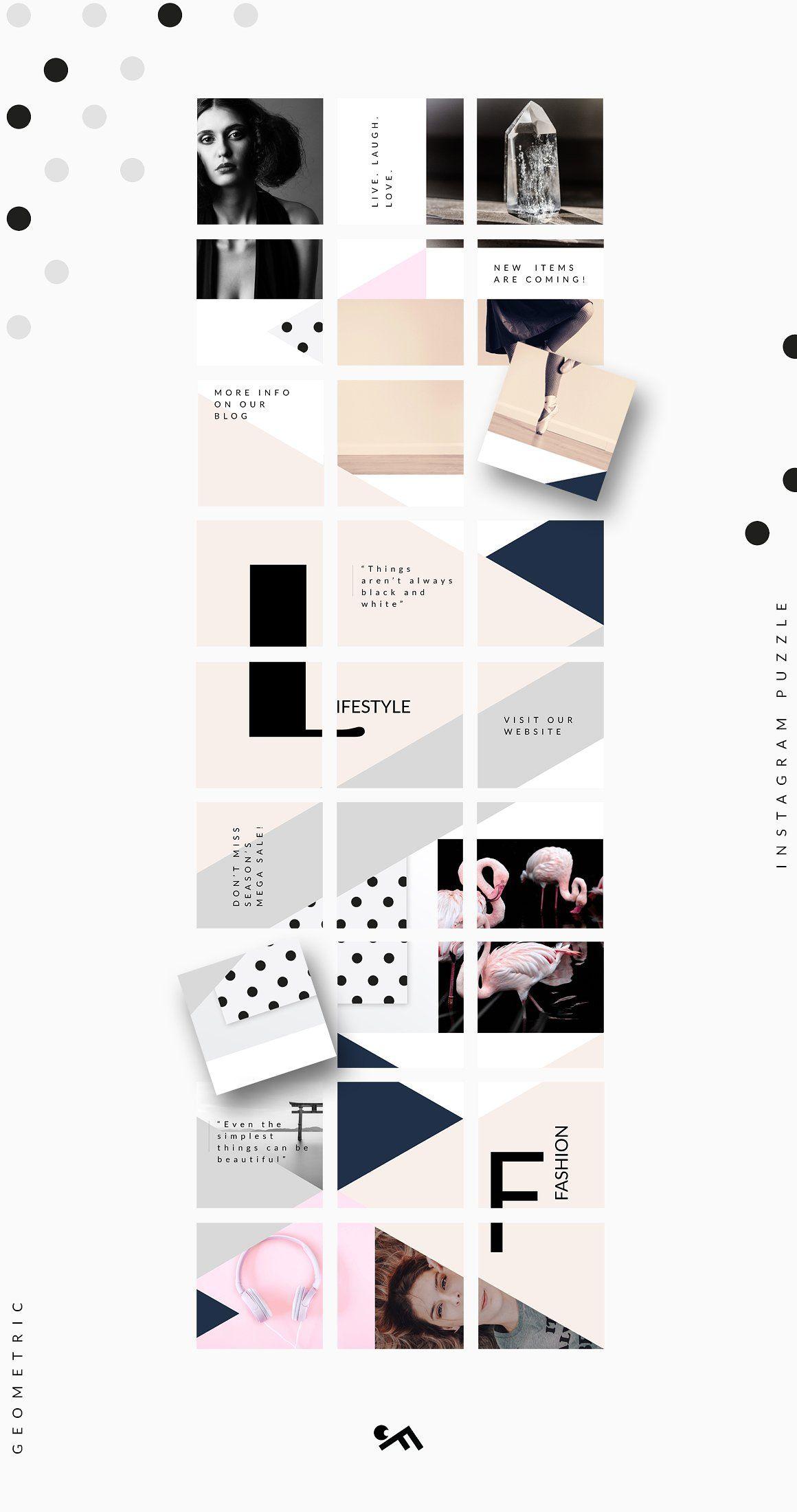 Instagram Puzzle Template Geometric Bingkai Foto Desain Grafis