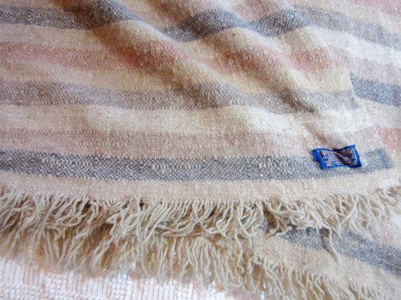 vtg Pendleton Wool Striped Fringe Stadium Throw Blanket Vintage