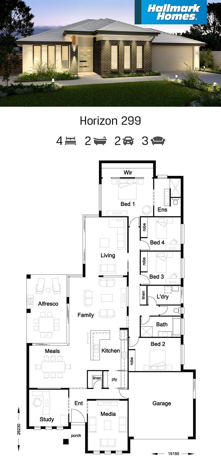 There Is Plenty Of Room For A Growing Family In The Horizon 299 The Design Features Fou Home Design Floor Plans Four Bedroom House Plans Courtyard House Plans