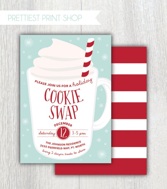 picture about Printable Holiday Invitations named Printable getaway occasion invitation - Cookie change - Xmas