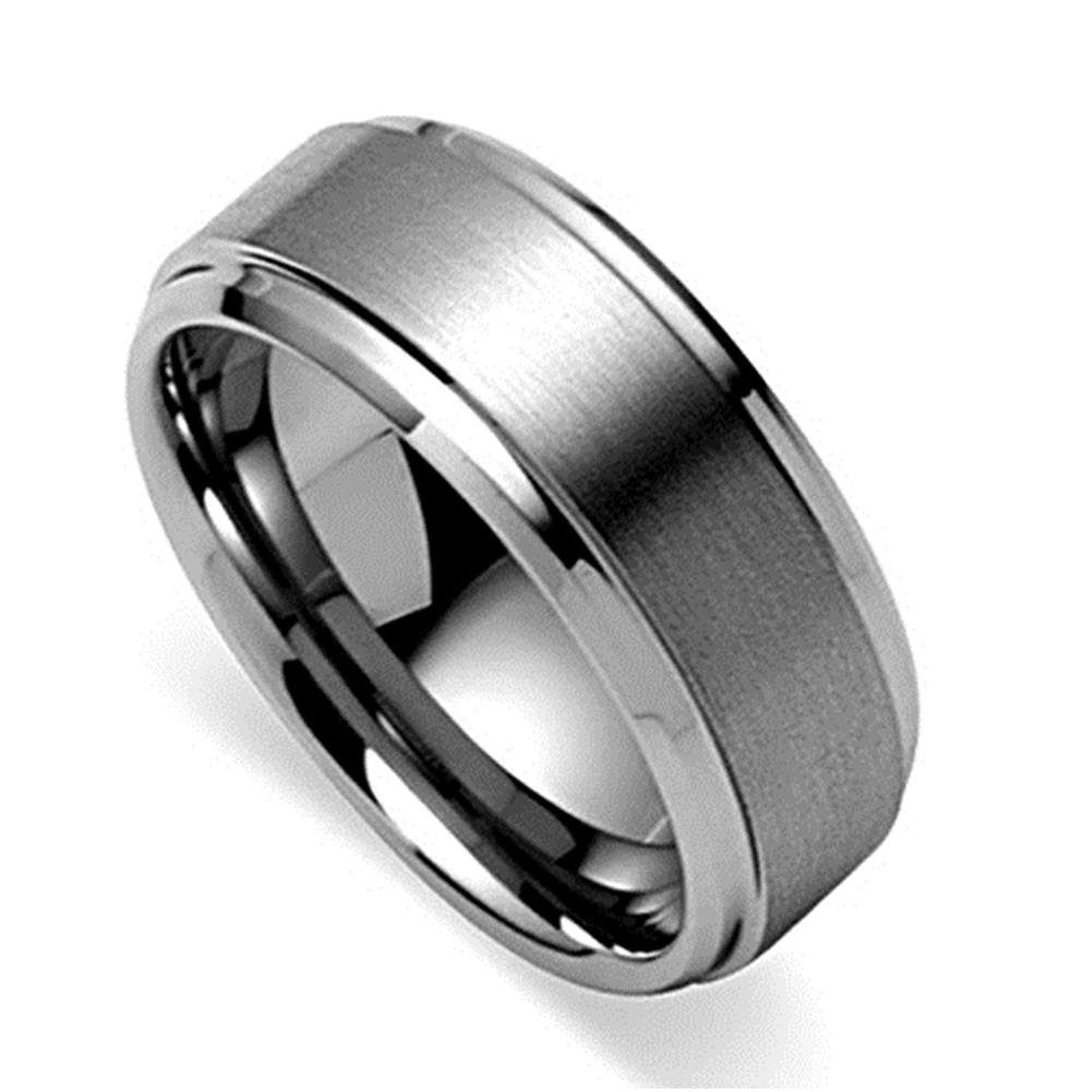 king will 8mm polished beveled edge matte brushed finish center mens tungsten ring wedding band - Tungsten Wedding Rings For Men