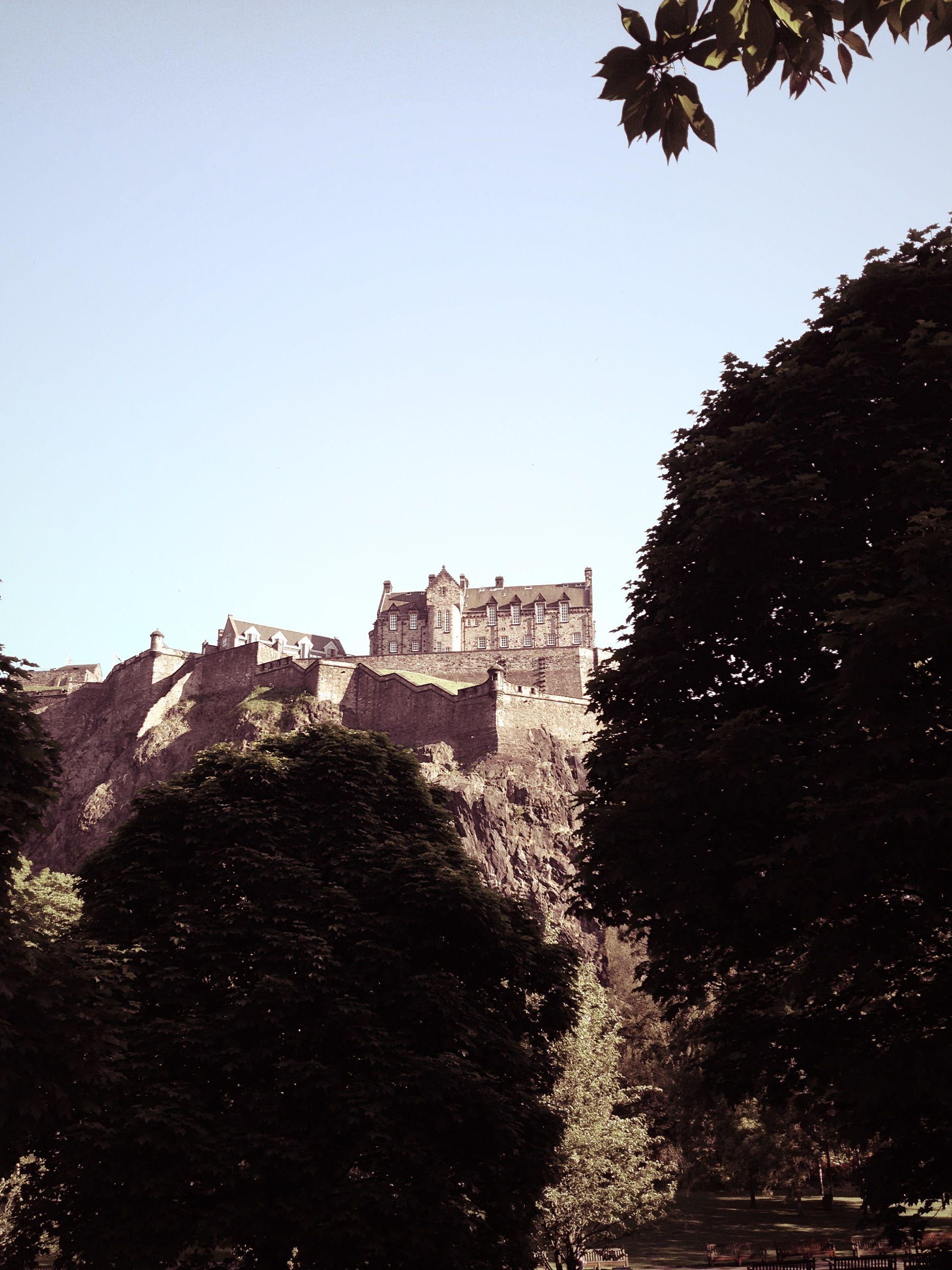View of Edinburgh castle from the garden