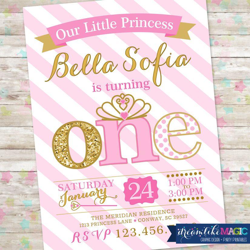 princess birthday invitation 1st