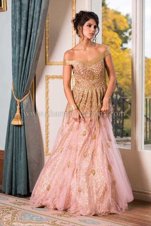 Reception Gown - This is a stunning off shoulder baby pink gown ...