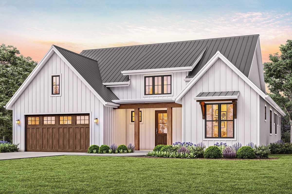 Plan 69715AM: 3-Bed New American House Plan with Vaulted ...