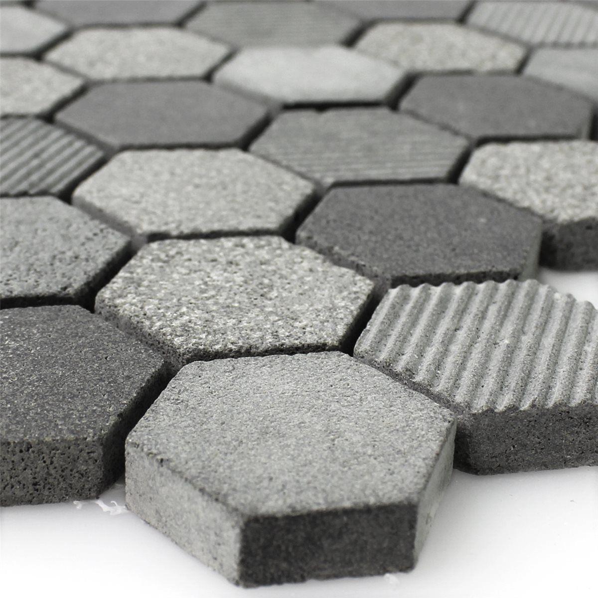 Natural Stone Hexagon Mosaic Tiles Notte Anthracite