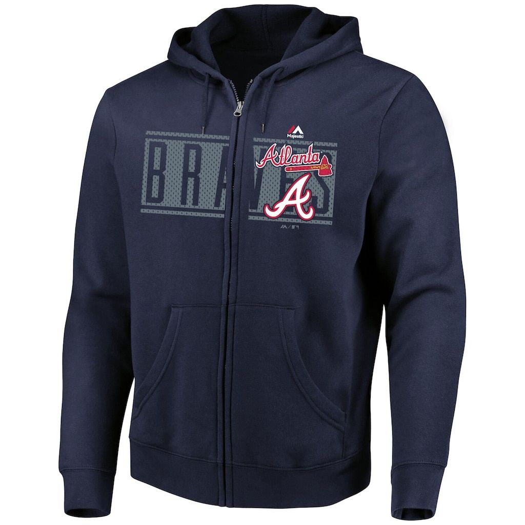 Men S Majestic Navy Atlanta Braves Piercing Attack Full Zip Hoodie Size Medium Blue Hoodies Full Zip Hoodie Zip Hoodie