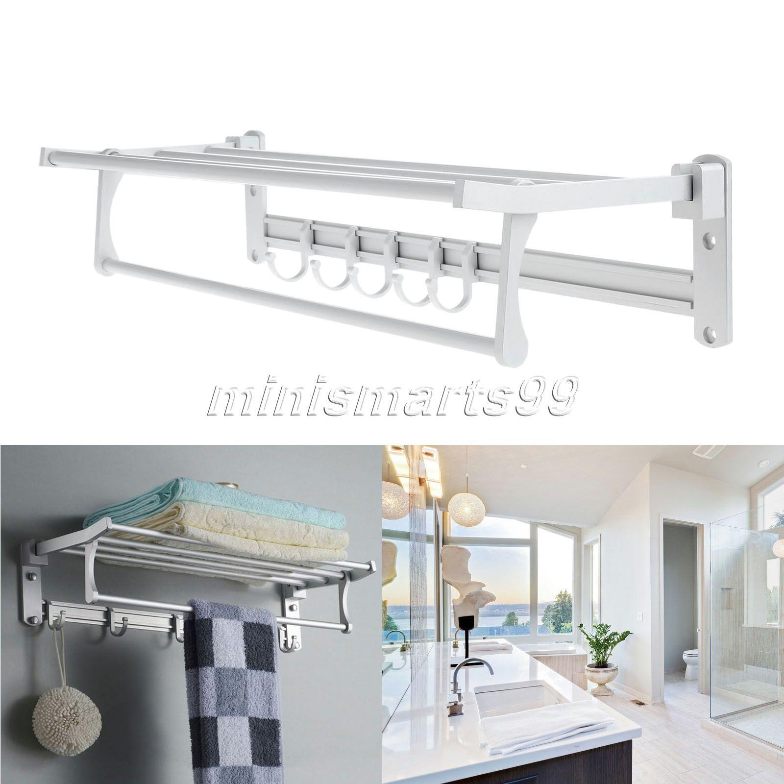 Bathroom Towel Corner Shelves Holders Aluminum Wall Mounted
