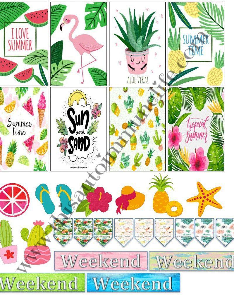 Free Summer 2018 Stickers | Planner Fun | Stickers, Happy