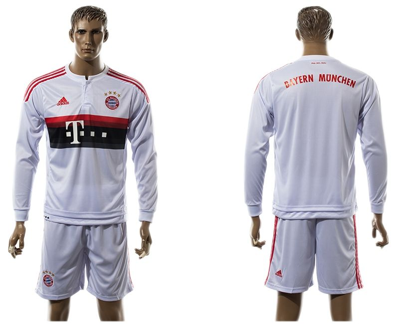 41f47bbaa83 2015-2016 Bayern Munich white long sleeves soccer jersey away