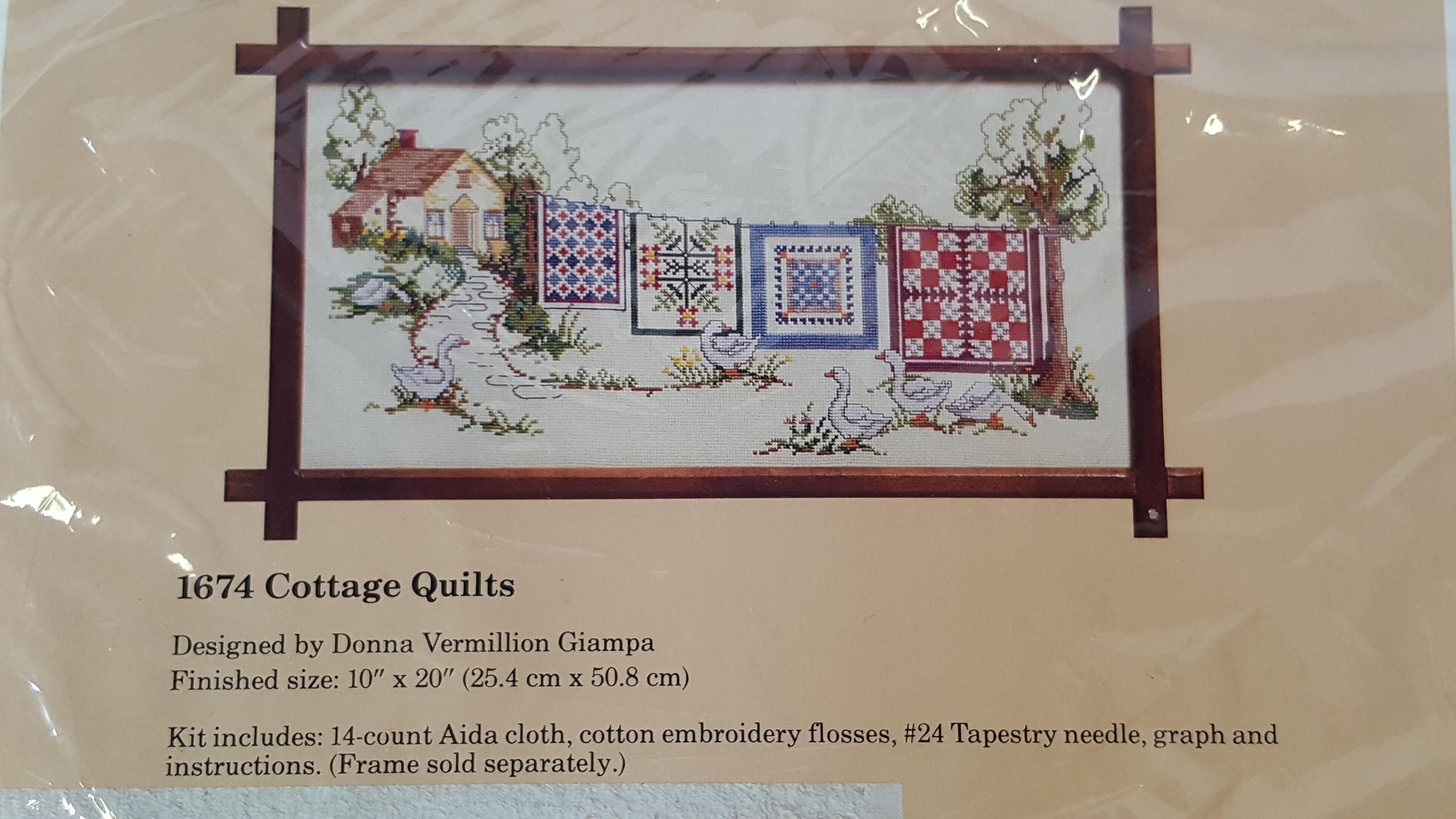 DIY Stamped Cross Stitch Kit Embroidery Package 14CT Cloth Autumn House