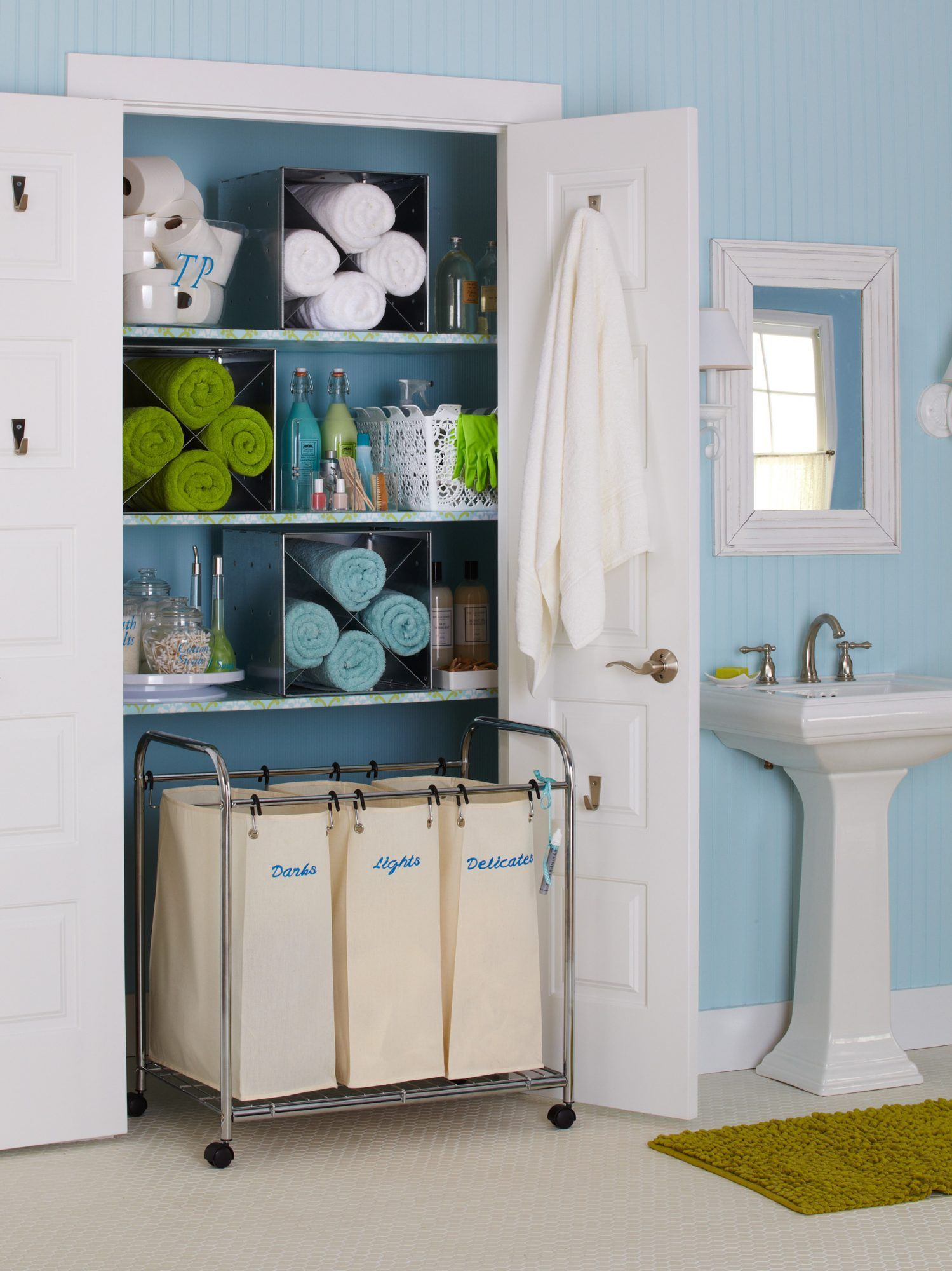 28 Towel Display Ideas For Pretty And Practical Bathroom Storage In 2020 Bathroom Closet Storage Closet Room Organizer Closet Hacks Organizing
