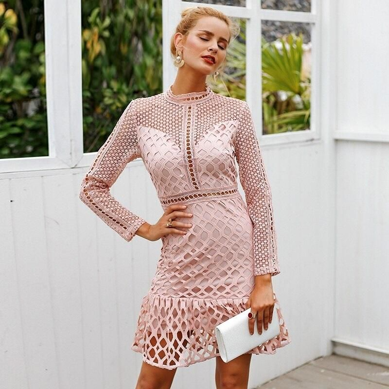 Elegant Hollow Out Mesh Lace Ruffle Slim Autumn Wi