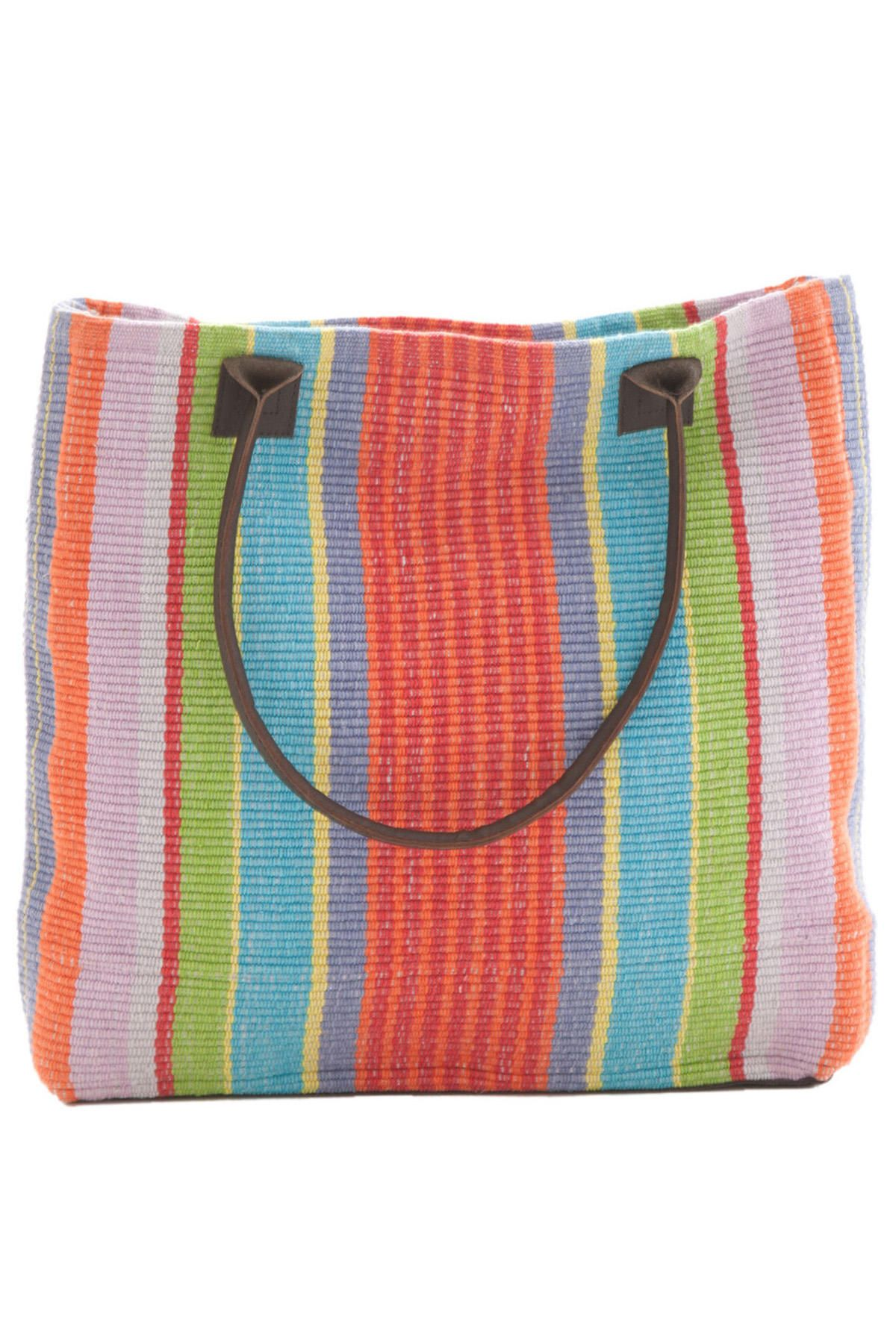 Dash Albert Garden Stripe Woven Cotton Tote Bag Our Carryall Rug Has A Construction And Is Hand Loomed In Durable 100